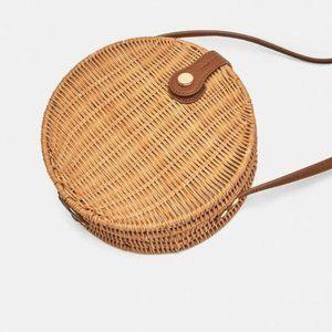 Zara Round Raffia Crossbody wicker Bag